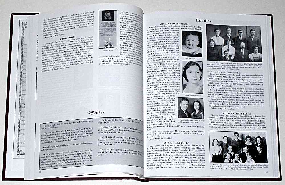 There is a section on families with stories and pictures.